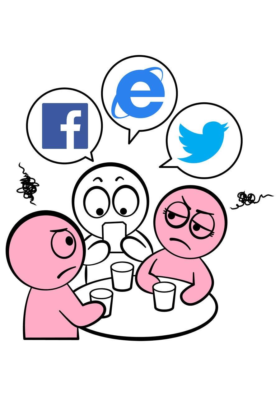 Inscrição nº                                         12                                      do Concurso para                                         Social media addict. Design single-panel illustration or cartoon symbolizing a social media addict (multiple winners possible).