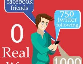 #19 para Social media addict. Design single-panel illustration or cartoon symbolizing a social media addict (multiple winners possible). por samuelsz