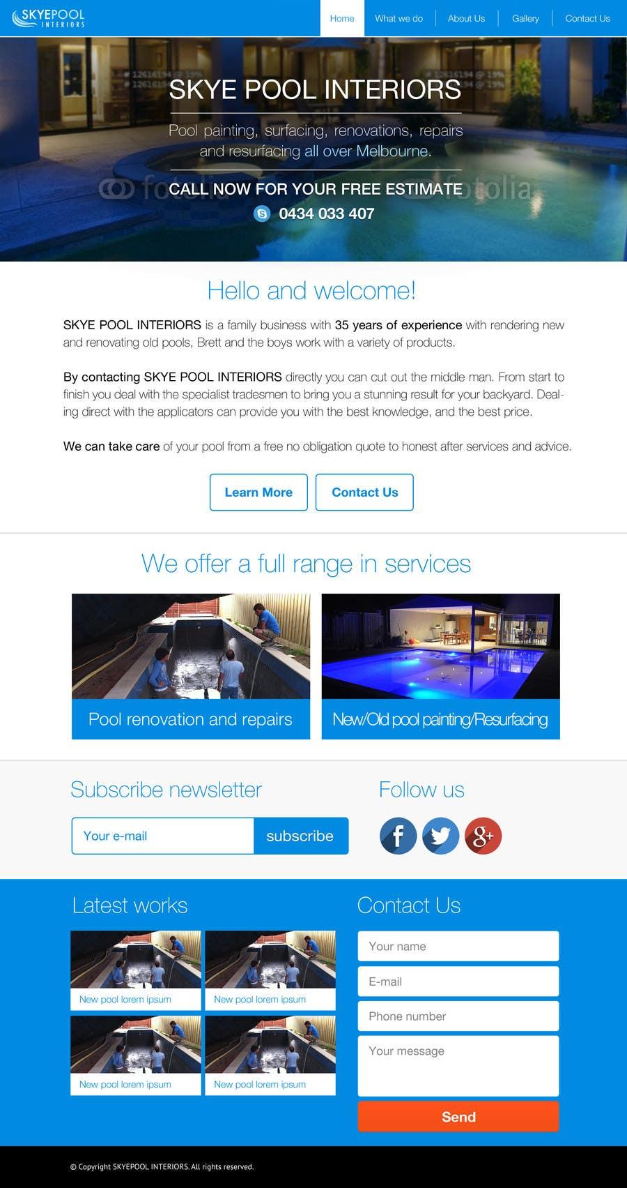 Bài tham dự cuộc thi #                                        39                                      cho                                         Design a Website Mockup/Including Logo for Pool Renovation company