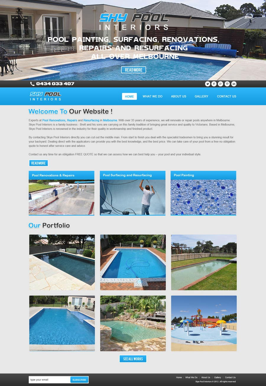 Bài tham dự cuộc thi #                                        53                                      cho                                         Design a Website Mockup/Including Logo for Pool Renovation company