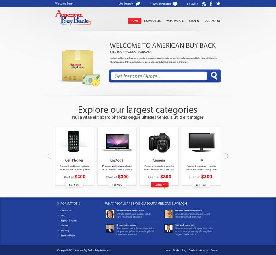 Penyertaan Peraduan #52 untuk Website Design for American Buy Back! Buying Electronics Antiques Gold and valuables Online w/Cash