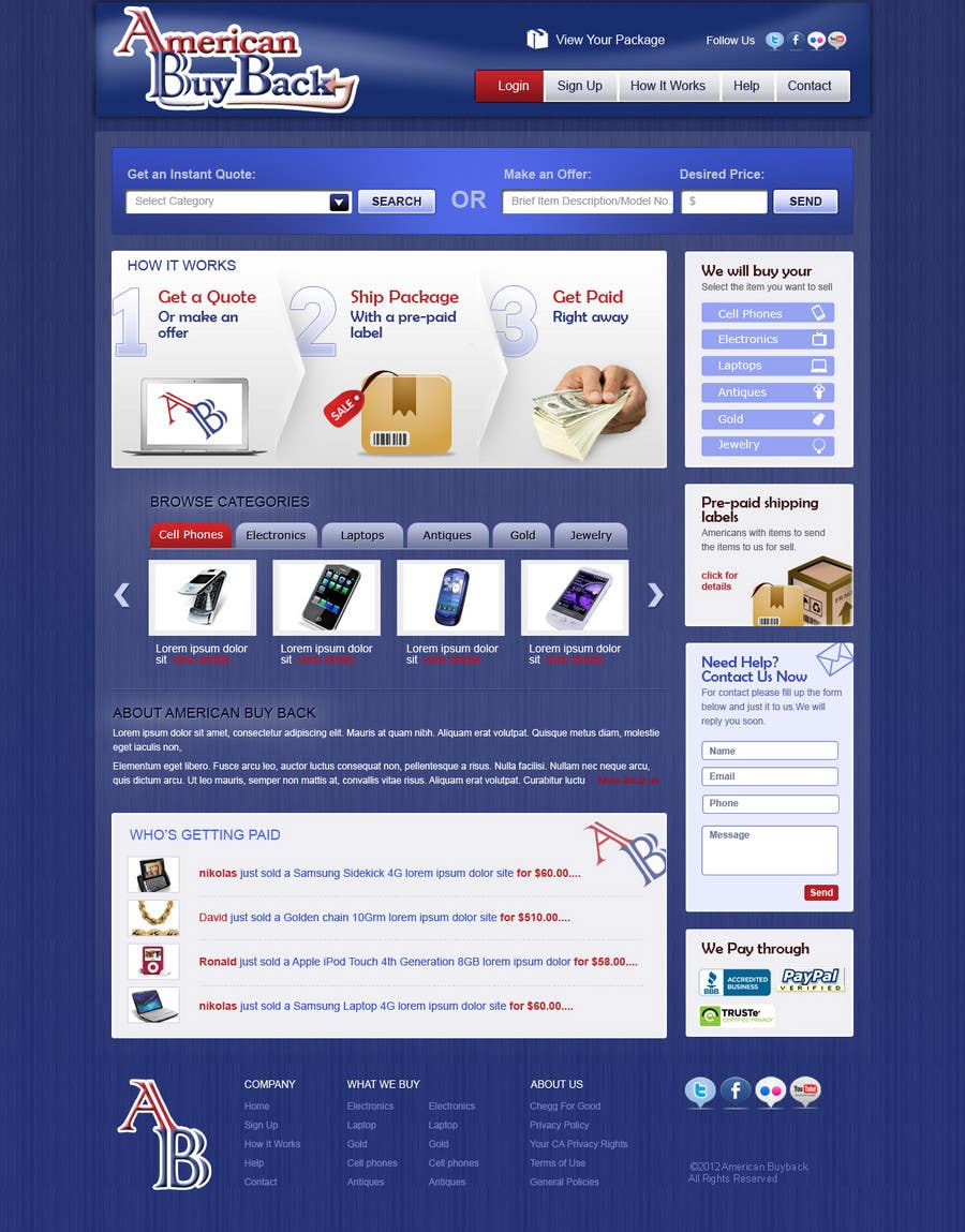 Inscrição nº 97 do Concurso para Website Design for American Buy Back! Buying Electronics Antiques Gold and valuables Online w/Cash