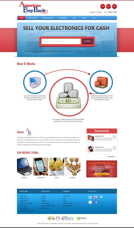 Penyertaan Peraduan #77 untuk Website Design for American Buy Back! Buying Electronics Antiques Gold and valuables Online w/Cash
