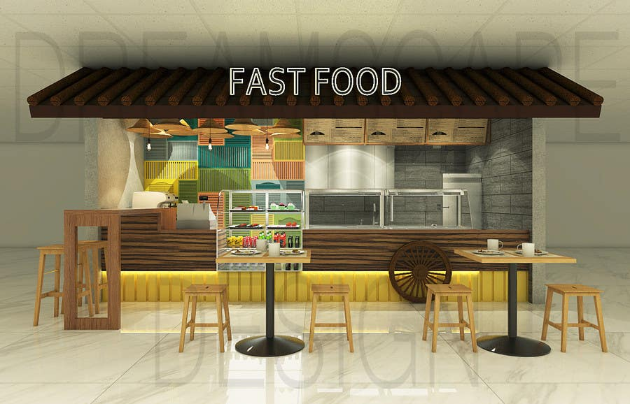 Architecture design a small fast food restaurant stall of 15 sqm front floor south east asia Kitchen design for fast food restaurant