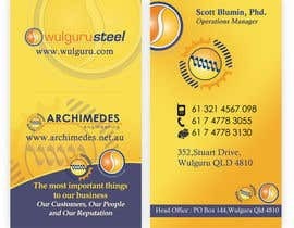 #29 untuk Business Card Design for Wulguru Group - incorporates Wulguru Steel & Archimedes Engineering oleh creationz2011
