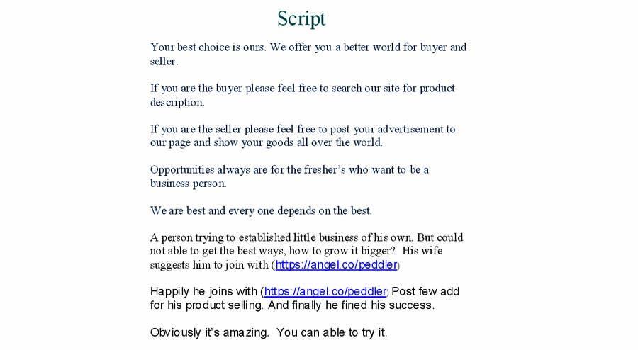 Penyertaan Peraduan #                                        6                                      untuk                                         Write a brief script for a 1-2 minute crowd funding video