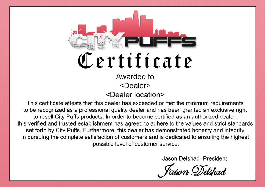 Entry 4 by emilydev for design an authorized dealer certificate contest entry 4 for design an authorized dealer certificate for electronic hookah company thecheapjerseys Image collections
