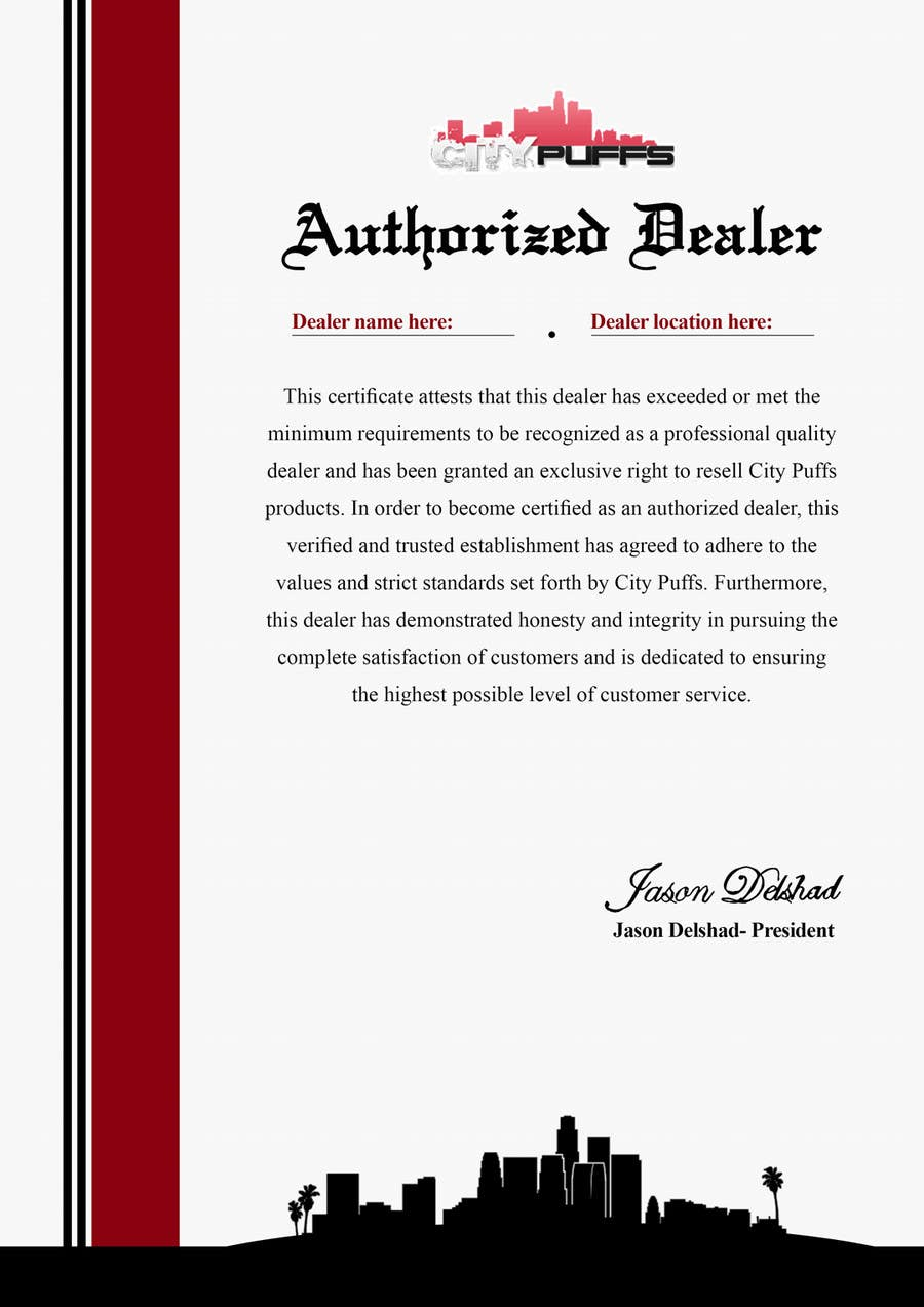 design an  u0026quot authorized dealer u0026quot  certificate for electronic