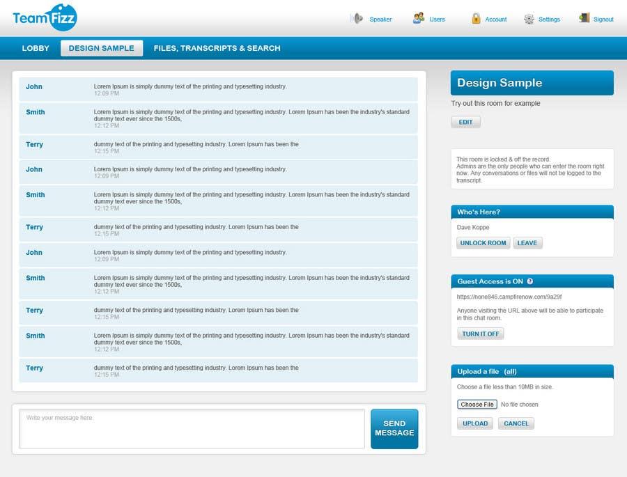 Penyertaan Peraduan #3 untuk Website Design for online team chat