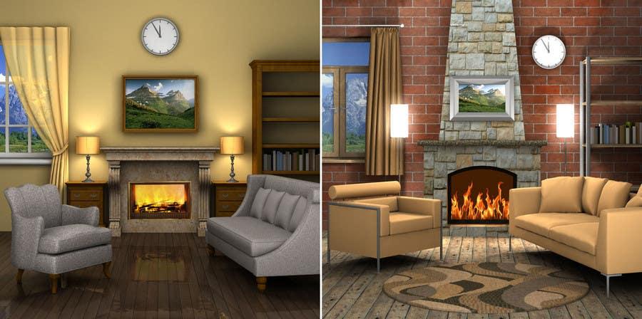 Inscrição nº                                         25                                      do Concurso para                                         Transform a bad hand drawing into a quality graphic-Two Living Rooms (2 styles:Log Cabin and Modern)