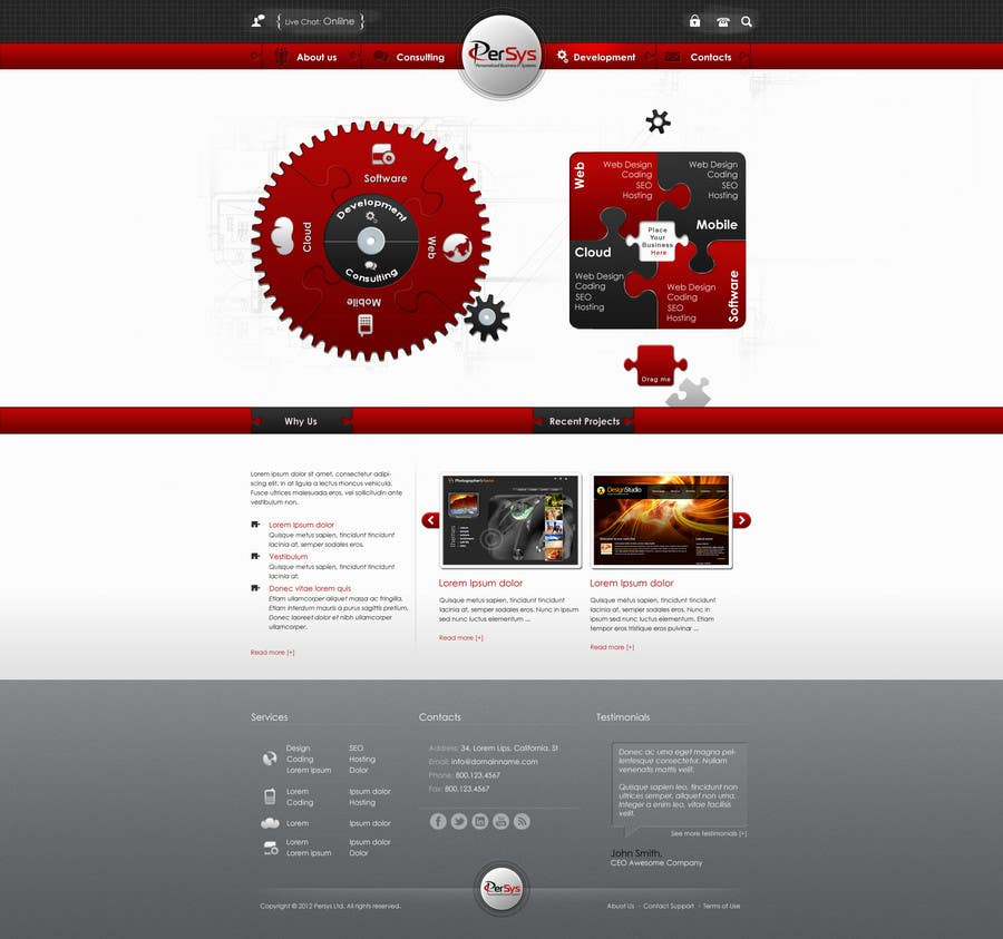 Contest Entry #                                        8                                      for                                         Website home page (DESIGN ONLY, no implementation required), including custom vector graphic creation.