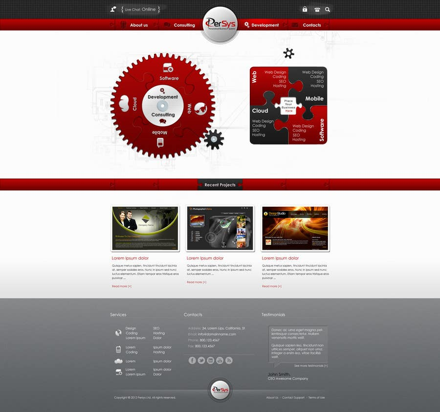 Contest Entry #                                        4                                      for                                         Website home page (DESIGN ONLY, no implementation required), including custom vector graphic creation.