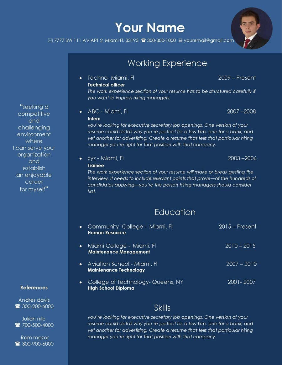 Entry 26 By Zerobitz For Design An Original And Stylish Cv Format