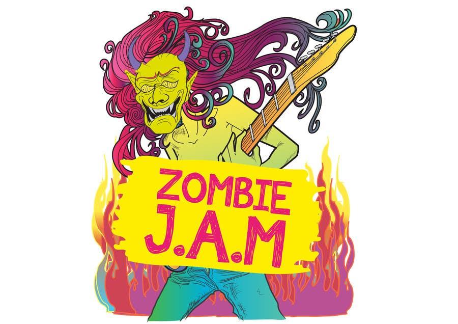 """Penyertaan Peraduan #                                        4                                      untuk                                         Design a T-Shirt for a kids' band called """"Zombie J.A.M."""""""