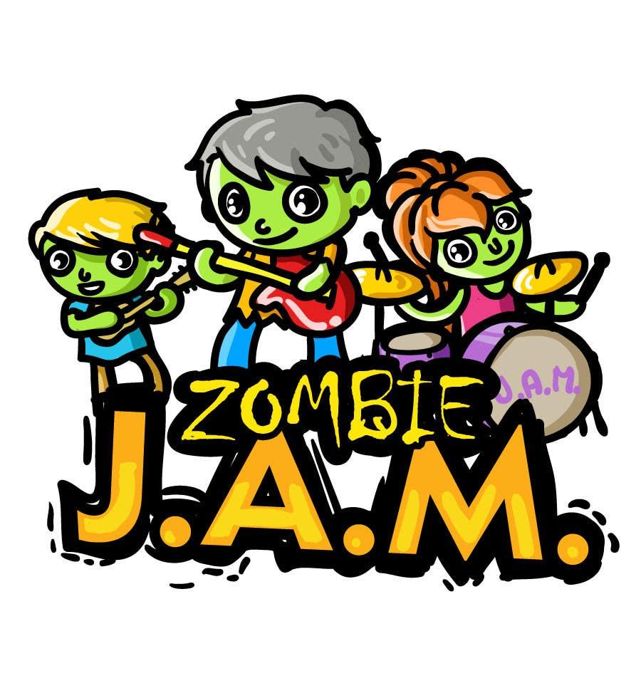 """Penyertaan Peraduan #                                        15                                      untuk                                         Design a T-Shirt for a kids' band called """"Zombie J.A.M."""""""