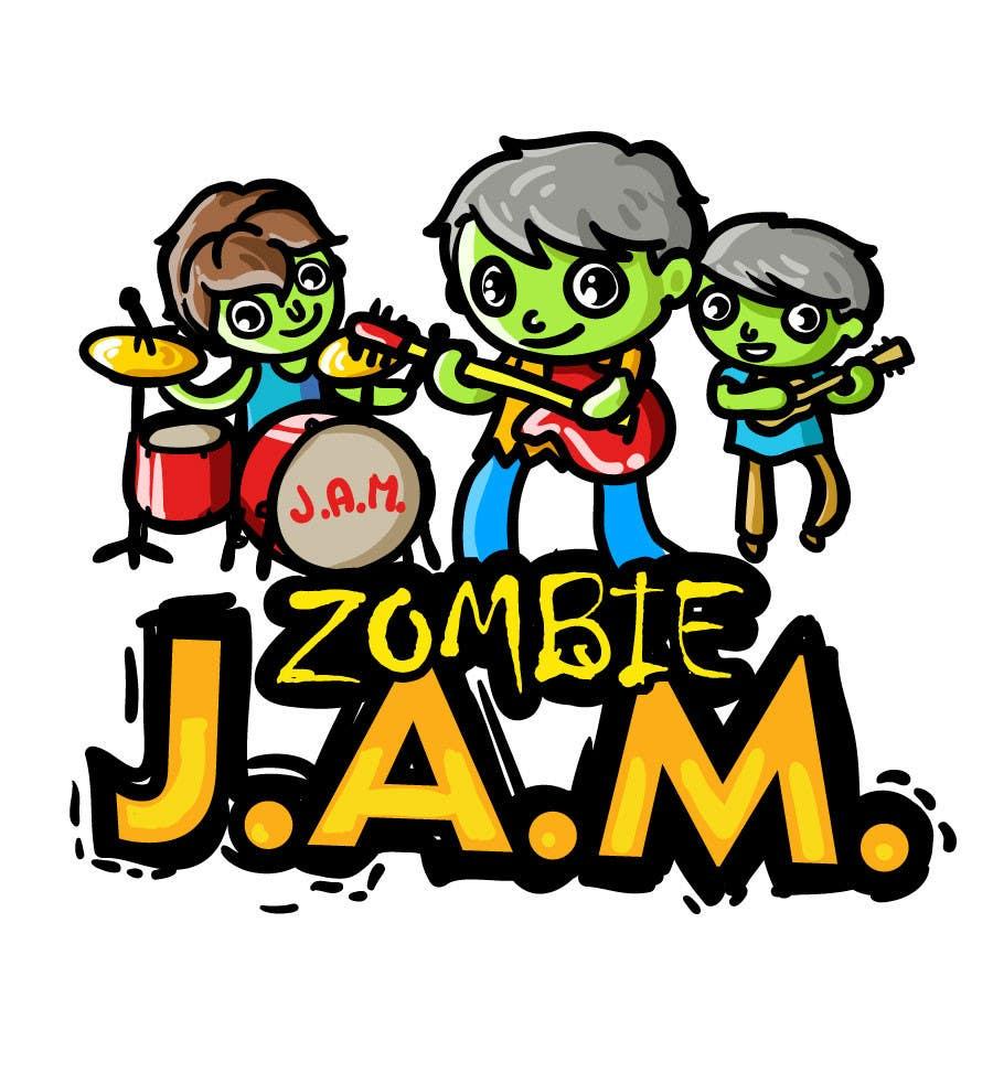 """Penyertaan Peraduan #                                        16                                      untuk                                         Design a T-Shirt for a kids' band called """"Zombie J.A.M."""""""