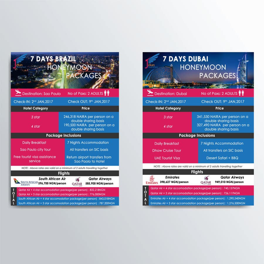Contest Entry 11 For DESIGN HONEYMOON PACKAGE BROCHURE