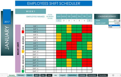 Customized 24/7 Shift Scheduler using Microsoft Excel