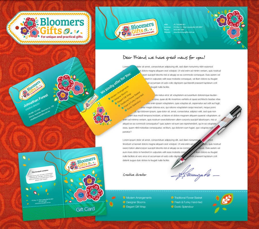 Bài tham dự cuộc thi #                                        78                                      cho                                         Graphic design work for Bloomers Gifts