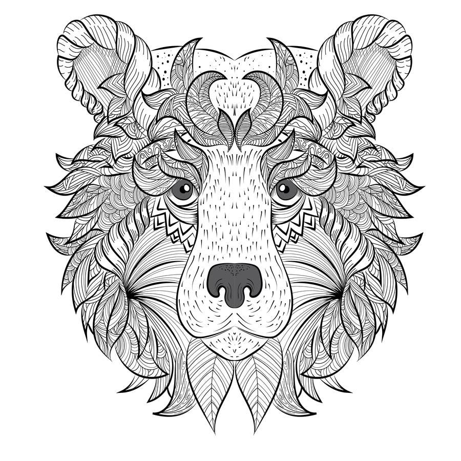 #15 para Handrawn Artistic Bear (head only) Design por namikaze005