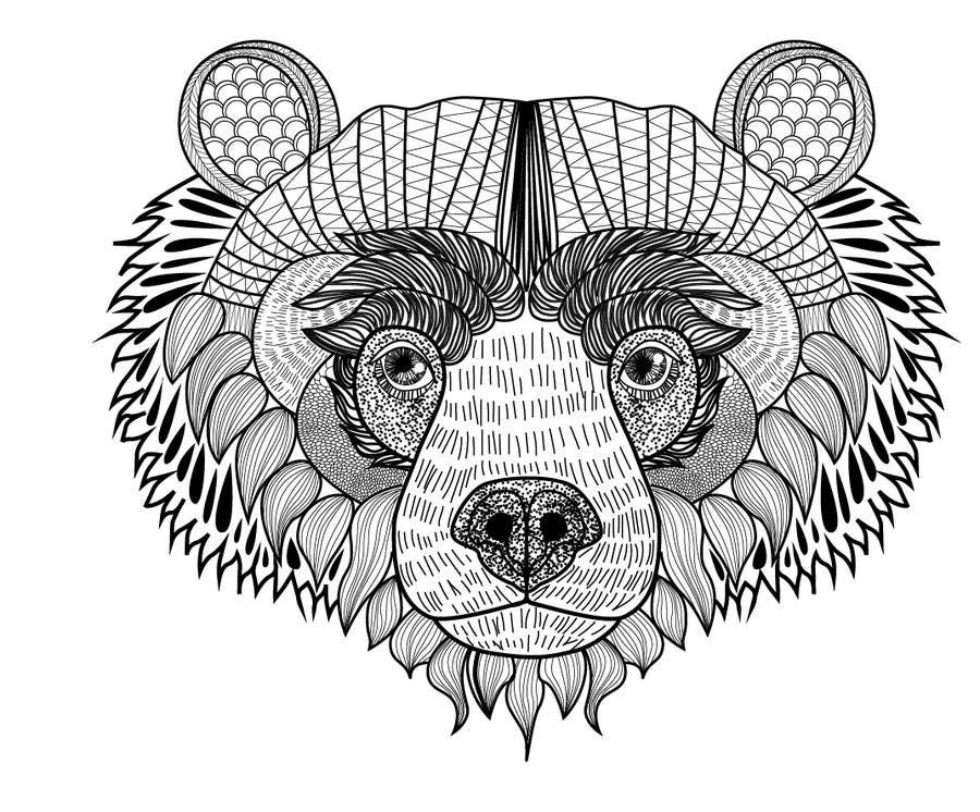 #9 para Handrawn Artistic Bear (head only) Design de paodiaz