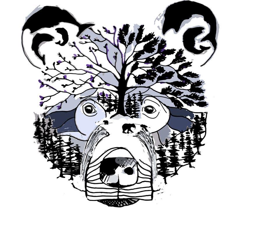 #16 para Handrawn Artistic Bear (head only) Design de Rafagm