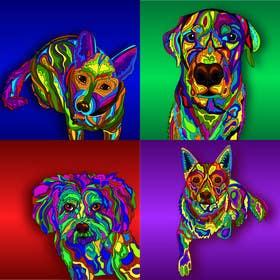 Image of                             Illustrate 4 Artwork Dog Prints