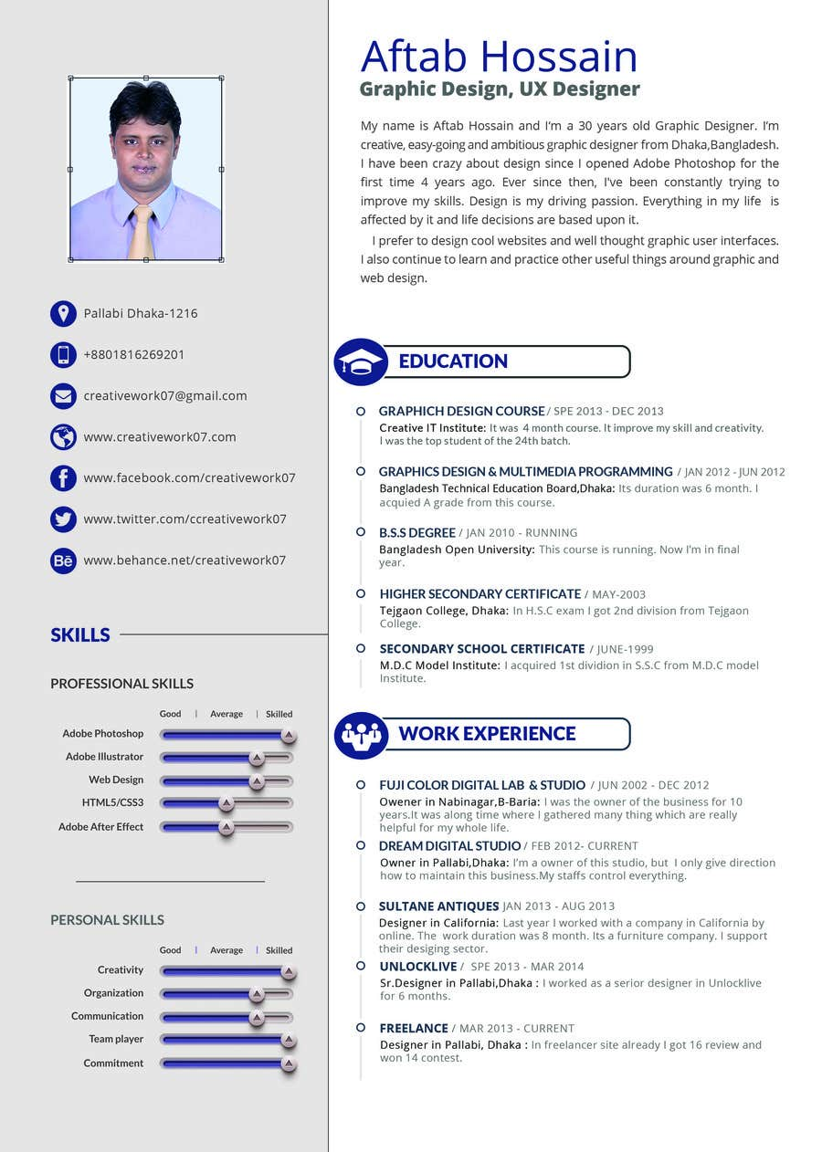 Entry 14 By Arnaldoweb For Create Cv Template With Graphic