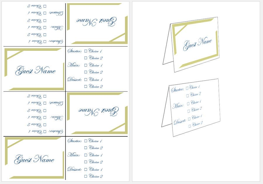 View Place Card Word Template Images