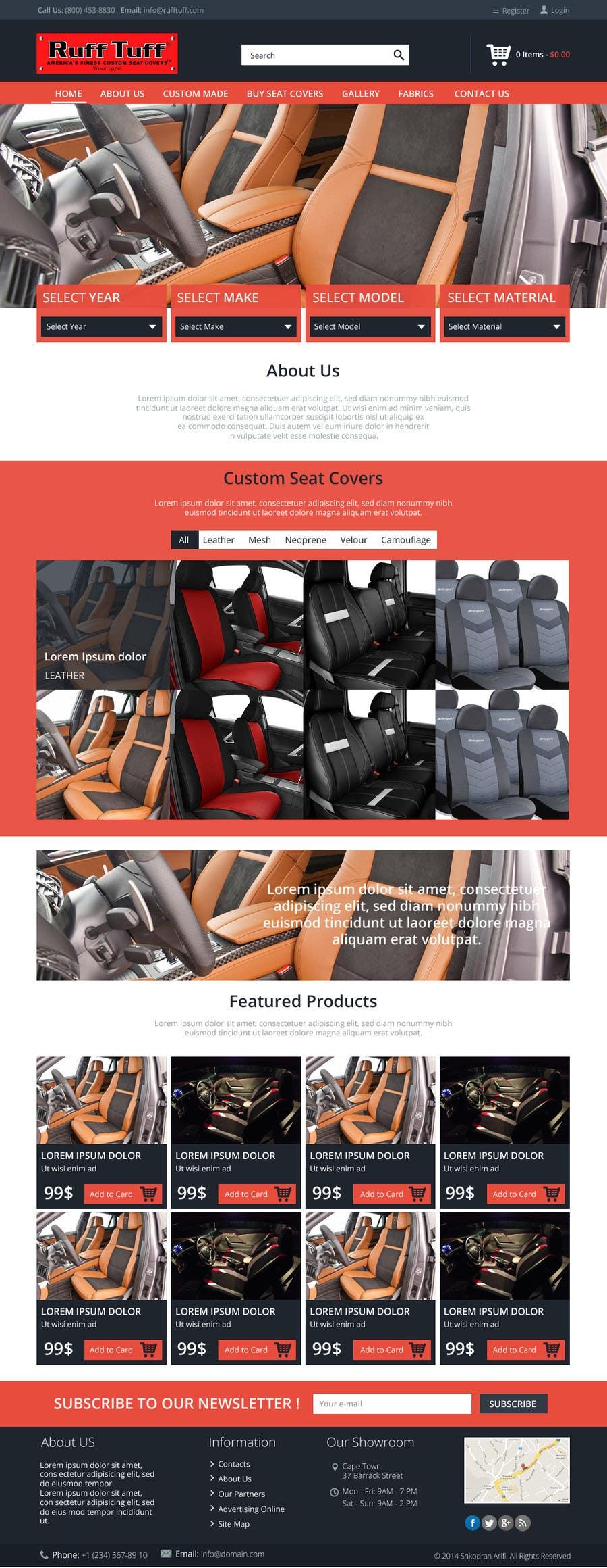 Penyertaan Peraduan #                                        26                                      untuk                                         Design a Website Mockup for an auto seat cover manufacturer