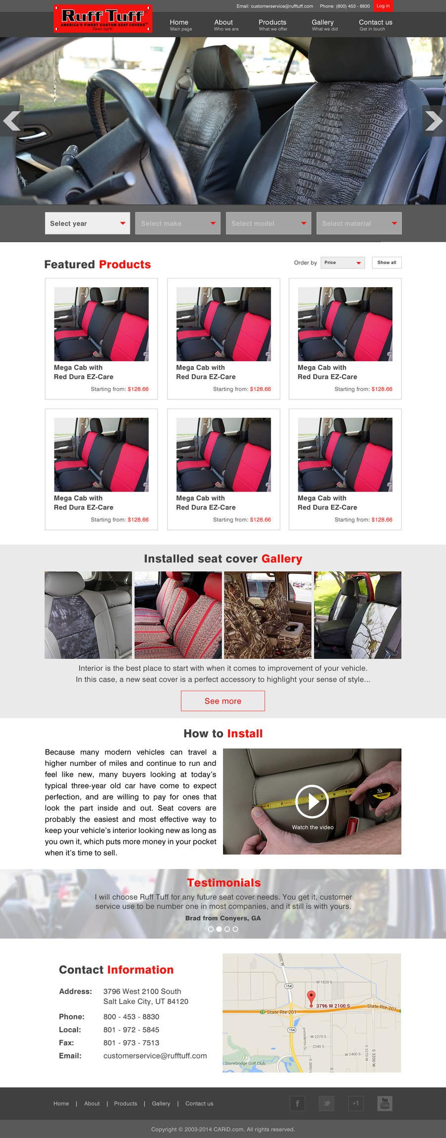 Penyertaan Peraduan #                                        8                                      untuk                                         Design a Website Mockup for an auto seat cover manufacturer