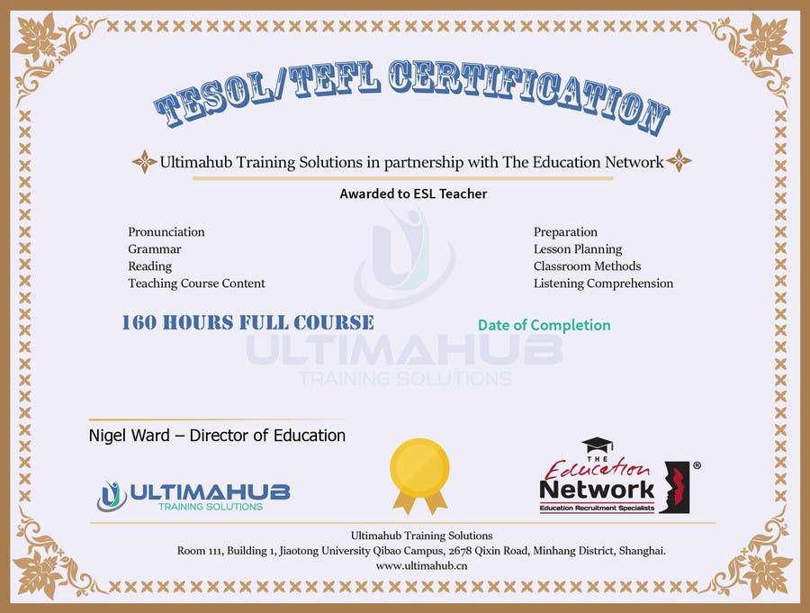 Entry #9 by mD4work for Design a TEFL Certificate for our students ...