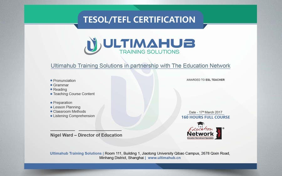 Entry #25 by satishandsurabhi for Design a TEFL Certificate for our ...