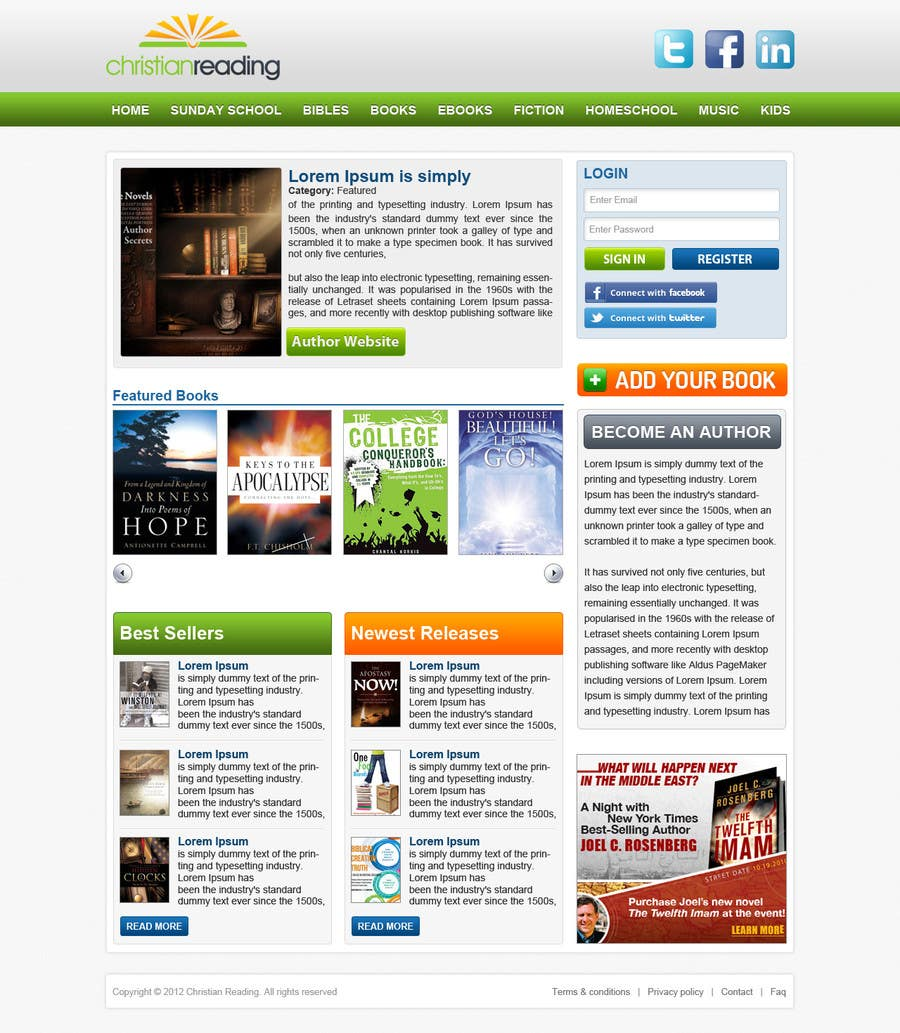 Contest Entry #52 for Christian Reading Website Home Page Design