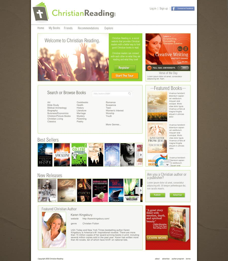 Contest Entry #                                        29                                      for                                         Christian Reading Website Home Page Design
