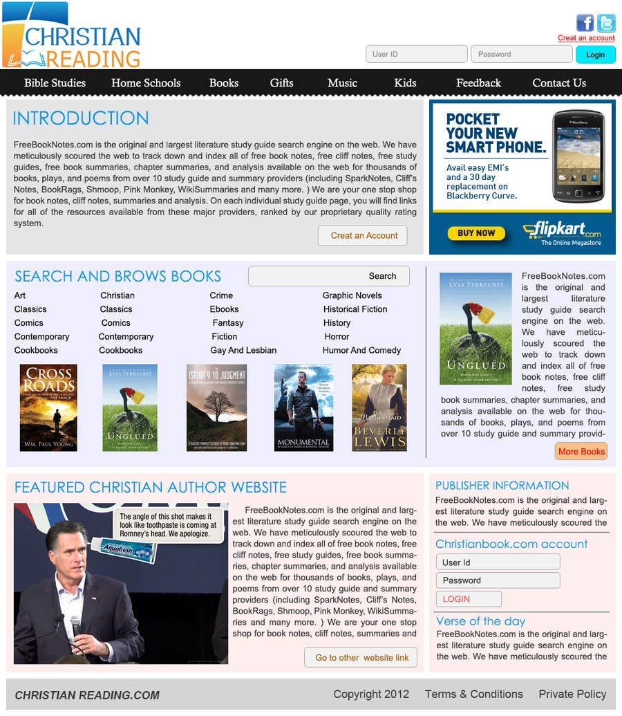 Contest Entry #                                        59                                      for                                         Christian Reading Website Home Page Design