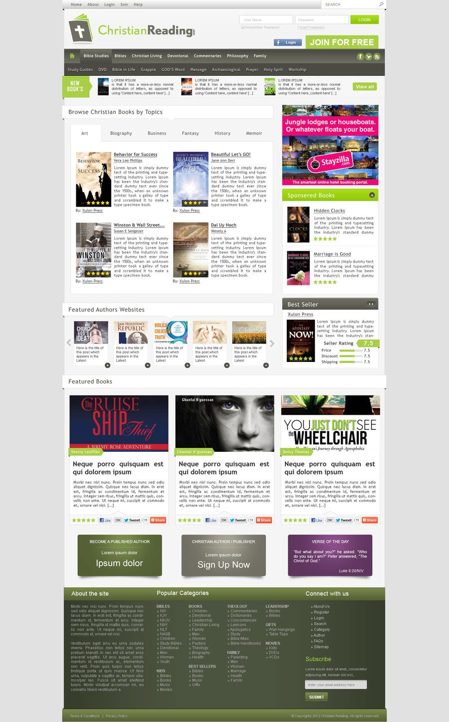 Contest Entry #                                        58                                      for                                         Christian Reading Website Home Page Design