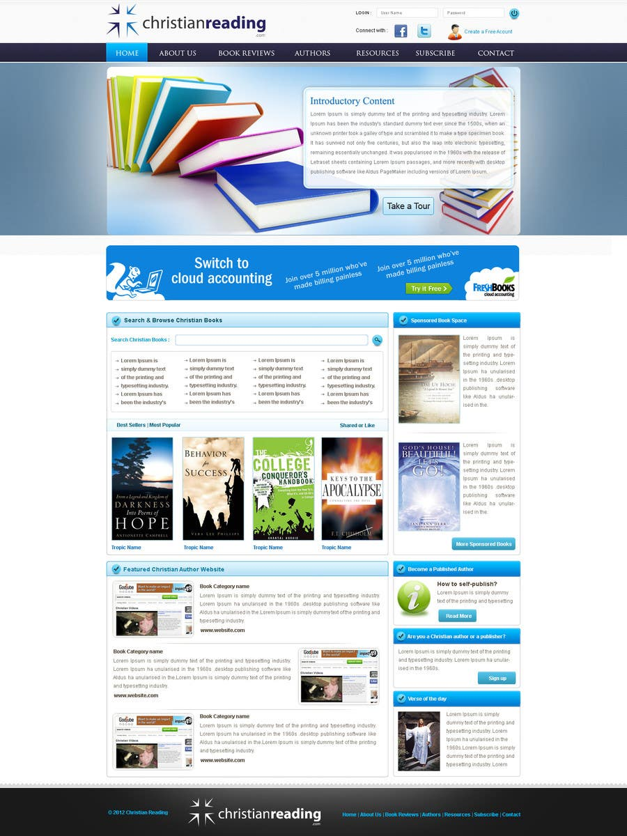 Contest Entry #                                        27                                      for                                         Christian Reading Website Home Page Design