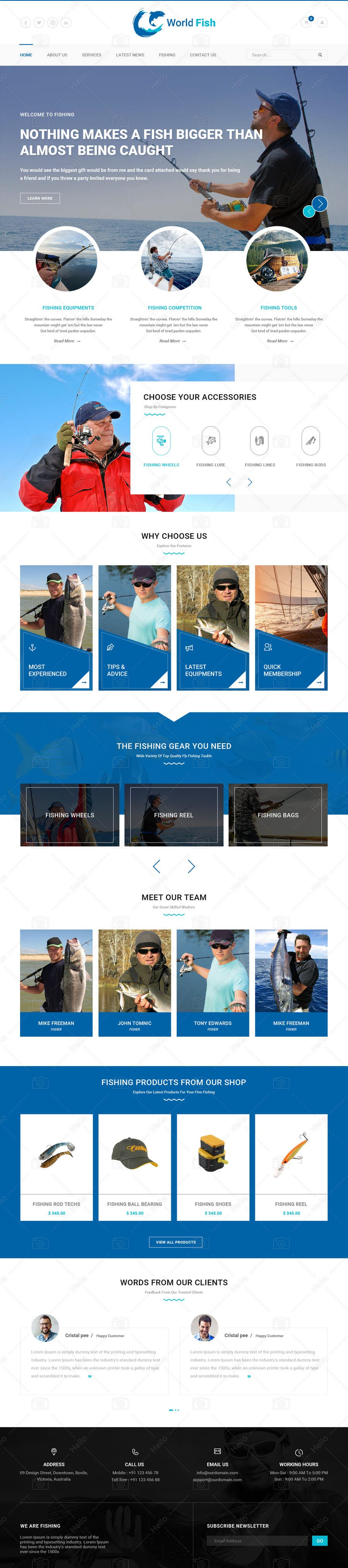 Proposition n°26 du concours Design a Website Template with a Fishing Theme