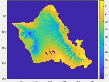 The figure represents the spatial temperature variation over Oahu Island (Hawaii) for January 1st, 1990
