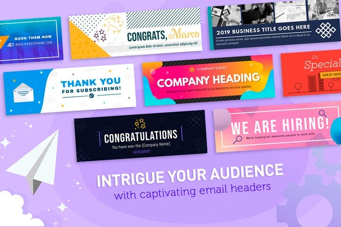 "Image showing PosterMyWall email header templates with text ""Intrigue your audience with captivating email headers"""