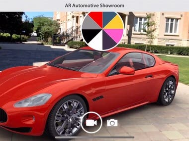VIDEO: https://youtu.be/jBgoFuxY0j8  MORE: https://robertsolero.com/ar-automotive.html  Augmented Reality virtual showcase for the Automotive industry. Case study project that allows users to preview cars with a Markerless approach. Both Life-size and Table-top augmentation implemented. Users can customize and interact with the car by changing color, wheels, inspect interiors, switch lights and more.