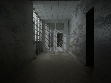 This is a Blender 3d Empty Hall Modeling Realistic Rendering Lighting