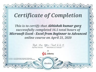 Advance Excel Certification course with Udemy