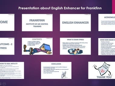 This presentation is made for the Frankfinn Institute of Air Hostess Training. My client was working and he was parallelly pursuing this Air Hostess training. so, he gave me this project. the research and making of the presentation were done by me as per the guidelines provided by Frankfinn Trainer. This project is based on the English Enhancer module. It was instructed to be an informal animated presentation mainly focused on Exam Stress. The guidelines included font, font size, and limitation of slides.