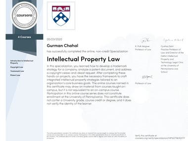 Specialization in Intellectual Property Rights Law from University of Pennsylvania.