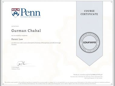 Patent Law from University of Pennsylvania