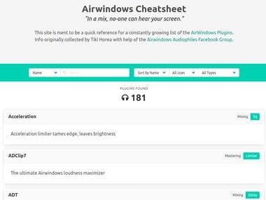 Cheatsheet for airwindows plugins. Made with svelte.