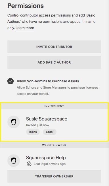 Squarepace adding contributors