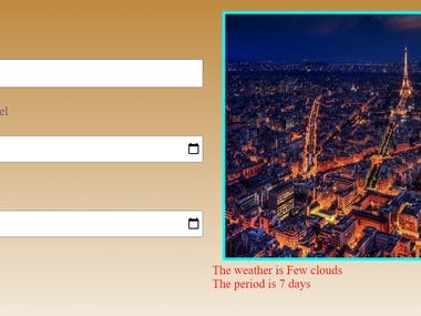 This is a travel app you enter the city you are travelling to and the date you are leaving and returning day. It outputs an image of the city and the weather at that day and  calculates the trip period.